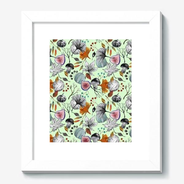 Картина «Тыквы, инжир и осенние листья. Тушь и акварель.»