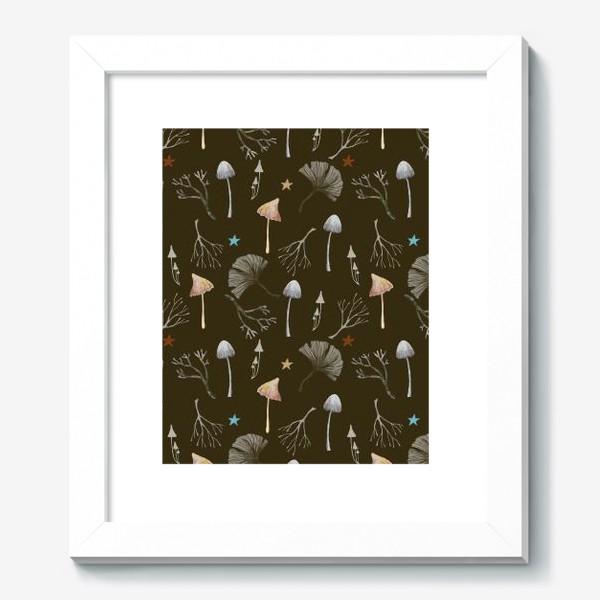 Картина «Грибы, листья гинкго, веточки и звезды»