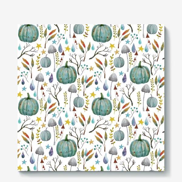 Холст «тыквы, грибы, яркие разноцветные осенние листья и ветки »