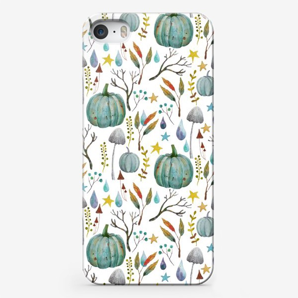 Чехол iPhone «тыквы, грибы, яркие разноцветные осенние листья и ветки »