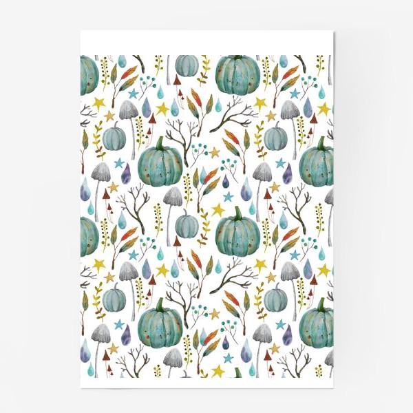 Постер «тыквы, грибы, яркие разноцветные осенние листья и ветки »