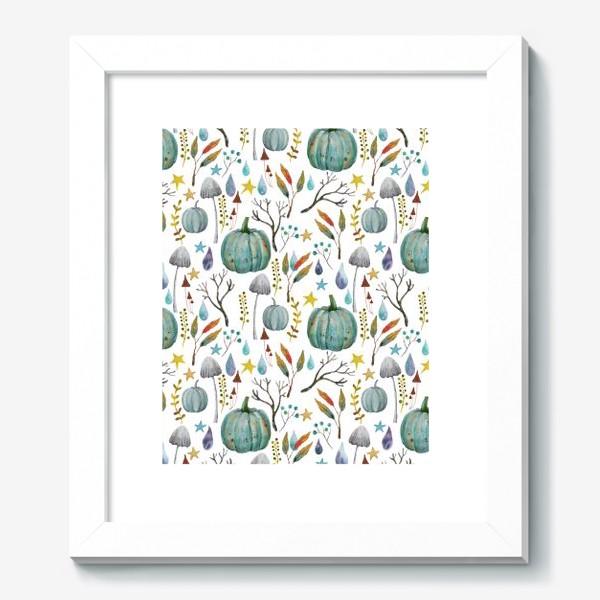 Картина «тыквы, грибы, яркие разноцветные осенние листья и ветки »