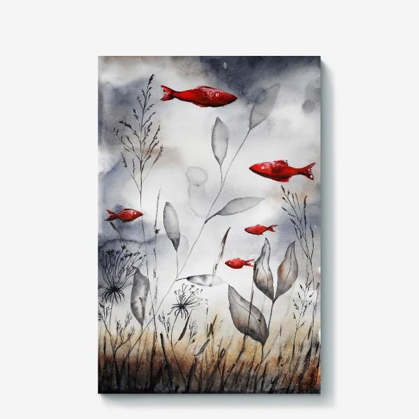 Холст «Красные рыбки»