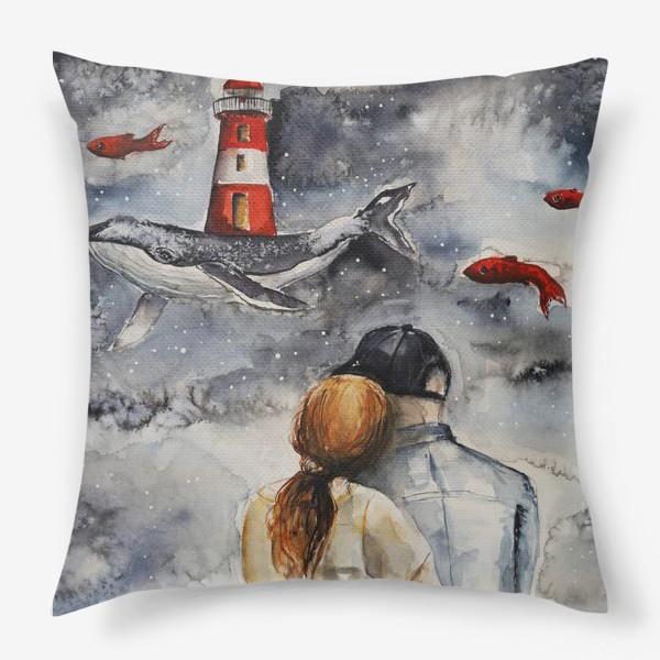 Подушка «Мечтая. Акварель »