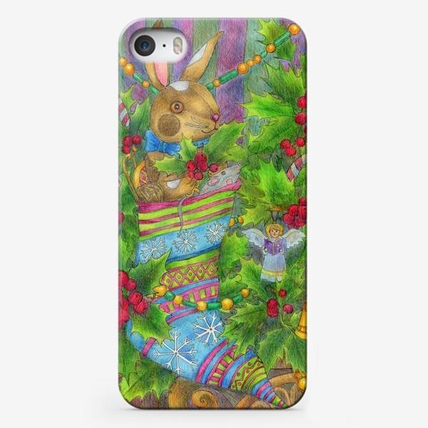 Чехол iPhone «Заяц в подарок на Новый год»