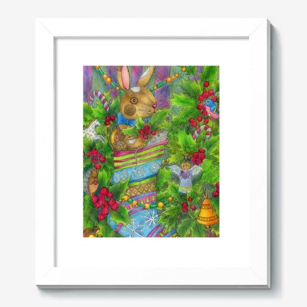 Картина «Заяц в подарок на Новый год»