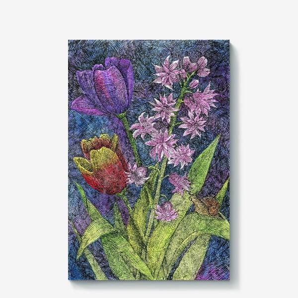 Холст «Тюльпаны и гиацинт»