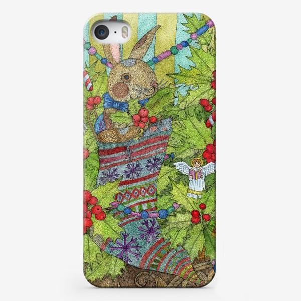 Чехол iPhone «Плюшевый кролик на Новый год»