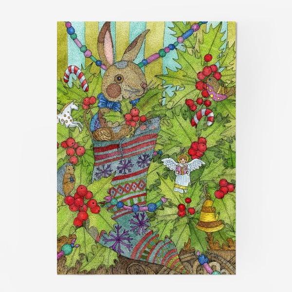 Постер «Плюшевый кролик на Новый год»