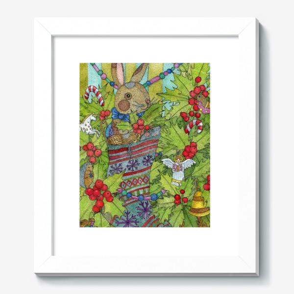 Картина «Плюшевый кролик на Новый год»