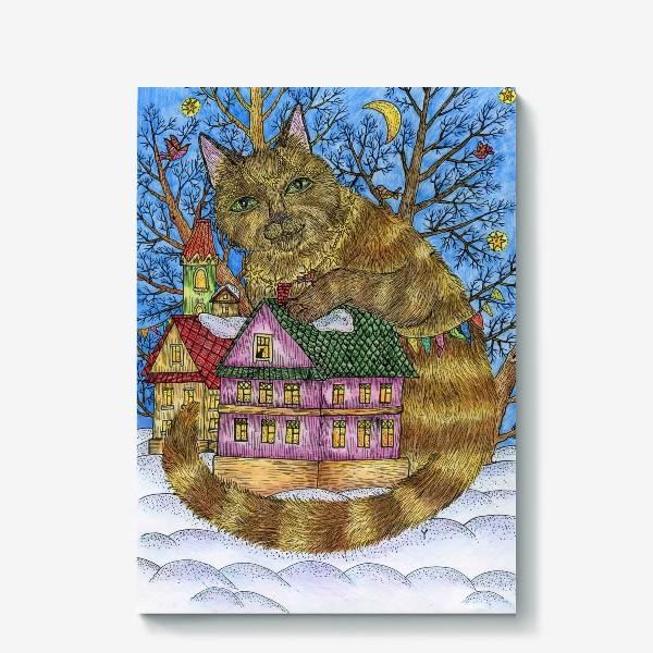 Холст «Большая сказочная кошка»