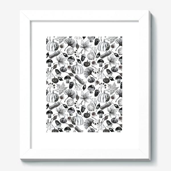 Картина « Тыквы, грибы и осенние листья. Тушь.»