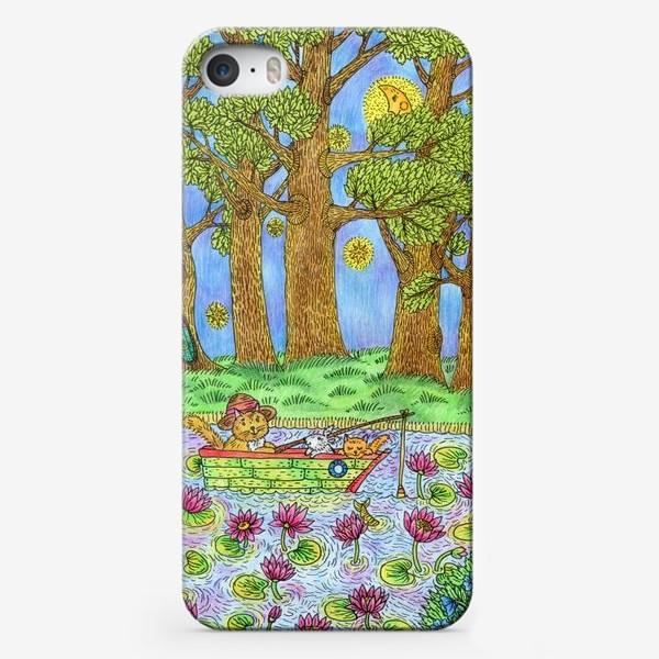 Чехол iPhone «Летняя рыбалка котика»