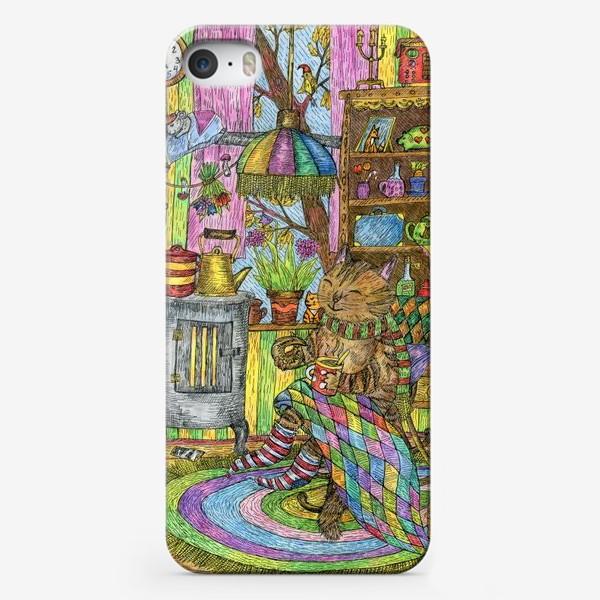 Чехол iPhone «Уютная осень у кота в избушке»