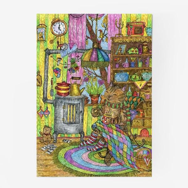 Постер «Уютная осень у кота в избушке»