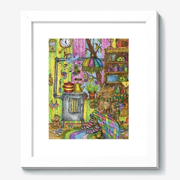 Картина «Уютная осень у кота в избушке»