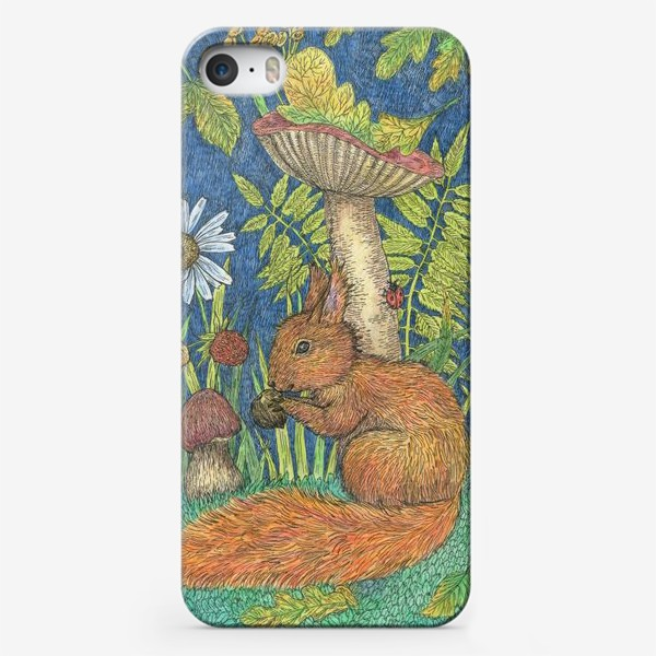 Чехол iPhone «Белка и грибы»