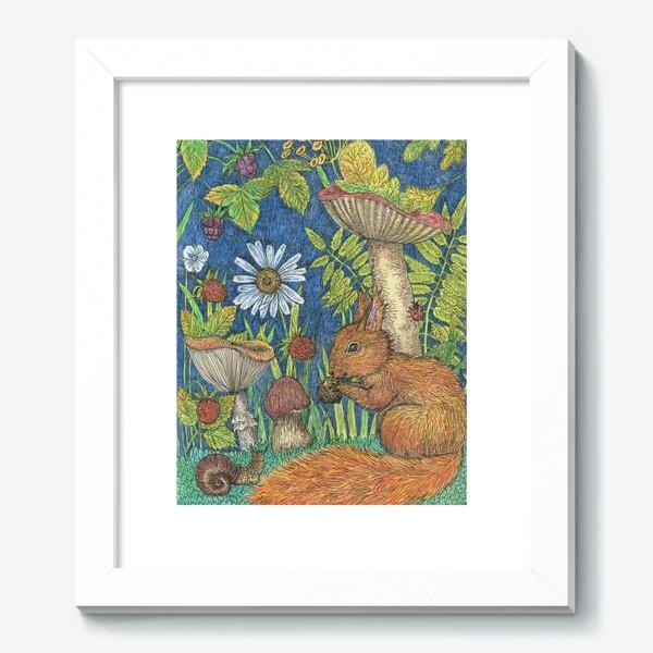 Картина «Белка и грибы»