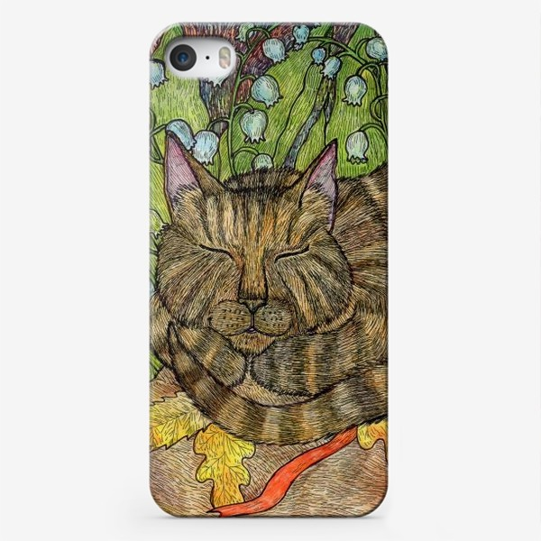 Чехол iPhone «Кошка и цветы ландыши»