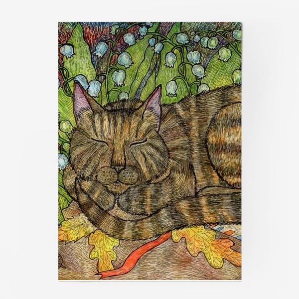 Постер «Кошка и цветы ландыши»