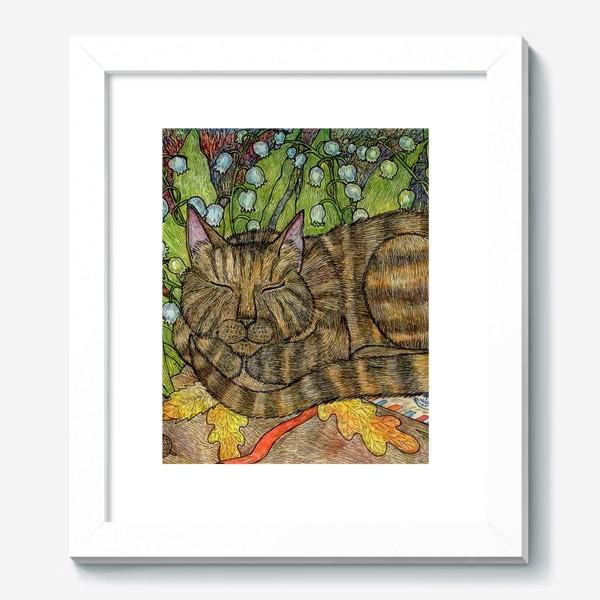 Картина «Кошка и цветы ландыши»