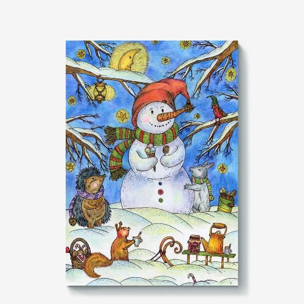Холст «Веселый снеговик»