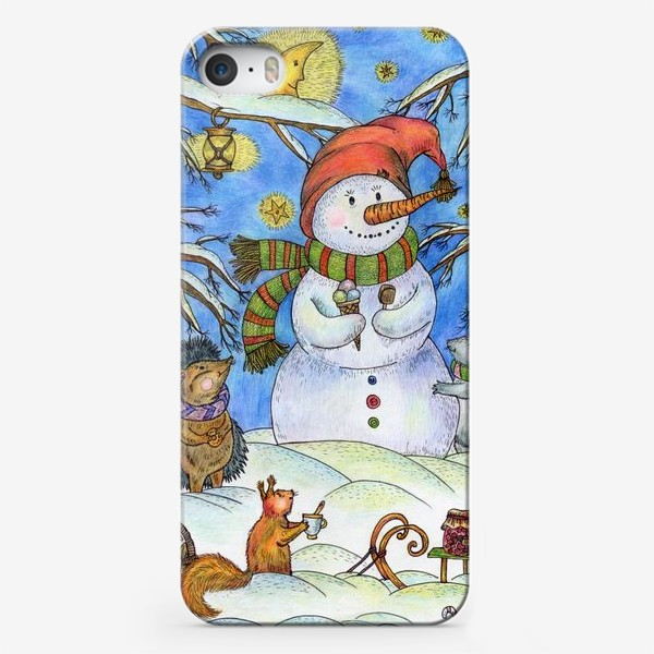 Чехол iPhone «Веселый снеговик»