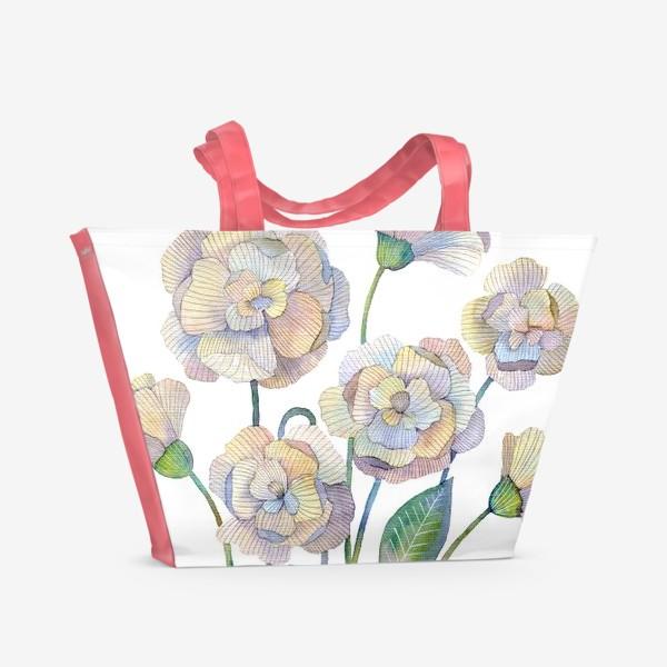 Пляжная сумка «Белые маки»