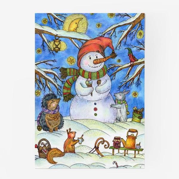 Постер «Веселый снеговик»