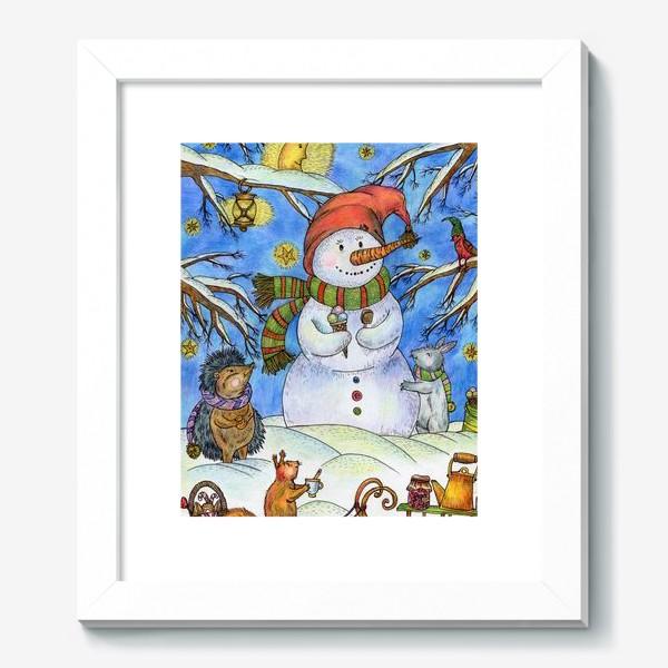 Картина «Веселый снеговик»