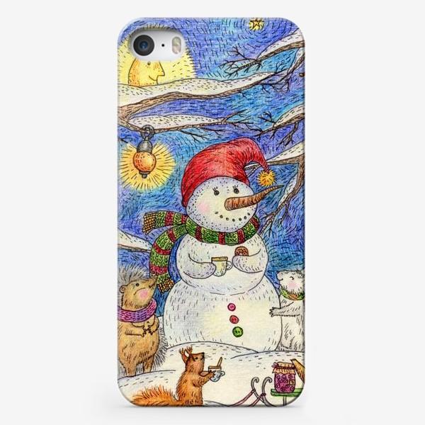 Чехол iPhone «Чаепитие веселого снеговика и милых животных»