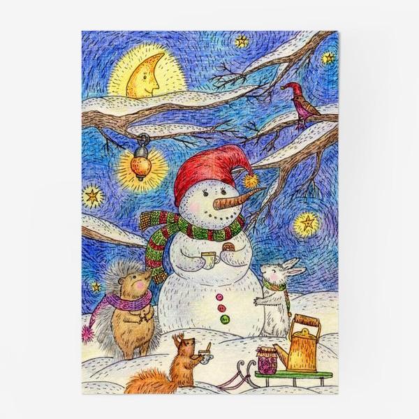 Постер «Чаепитие веселого снеговика и милых животных»