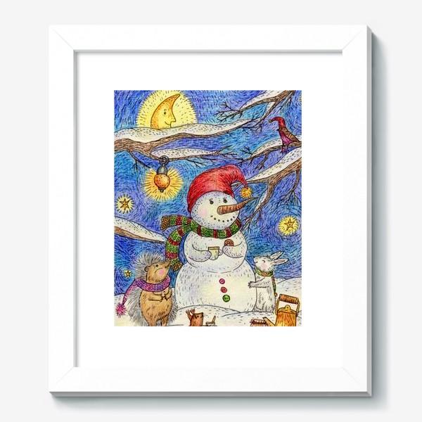 Картина «Чаепитие веселого снеговика и милых животных»