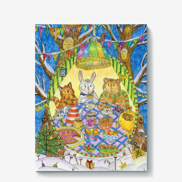 Холст «Новогоднее чаепитие милых животных»