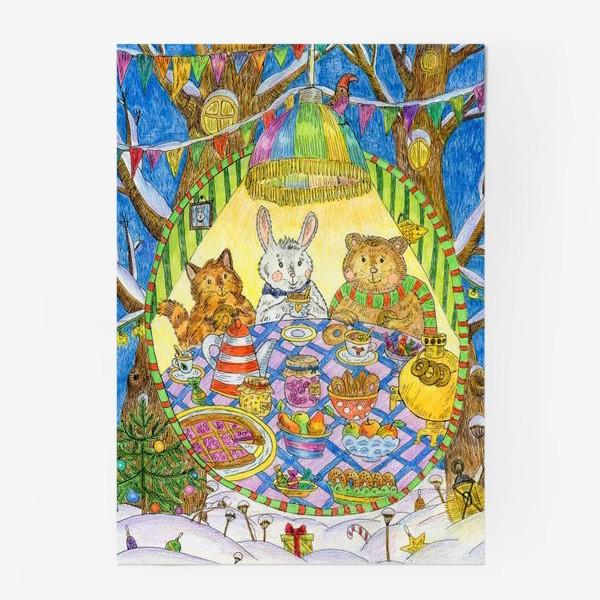 Постер «Новогоднее чаепитие милых животных»