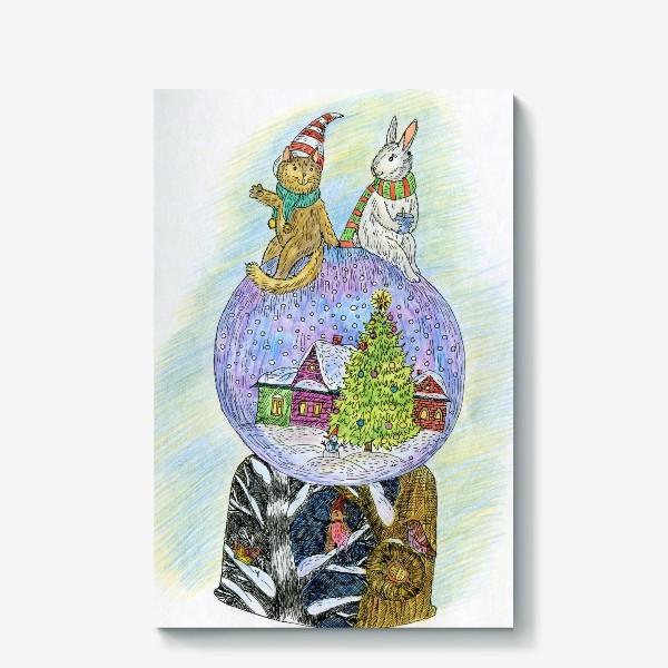 Холст «Кот и заяц на новогоднем шаре»