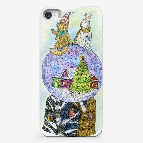 Чехол iPhone «Кот и заяц на новогоднем шаре»