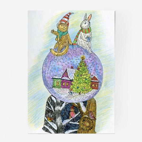 Постер «Кот и заяц на новогоднем шаре»