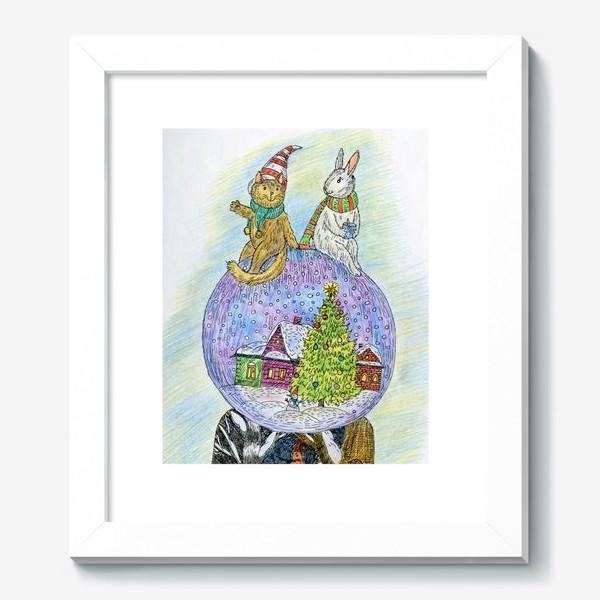 Картина «Кот и заяц на новогоднем шаре»
