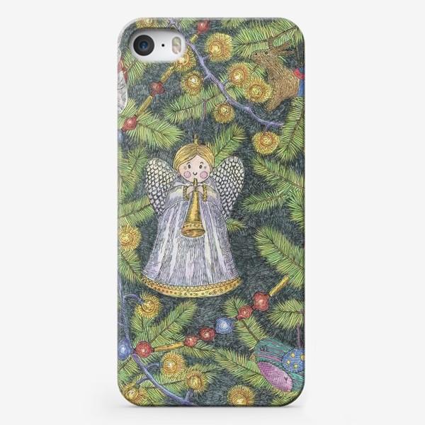 Чехол iPhone «Винтажные елочные игрушки на елке»