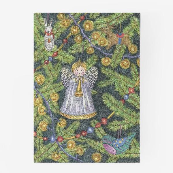 Постер «Винтажные елочные игрушки на елке»