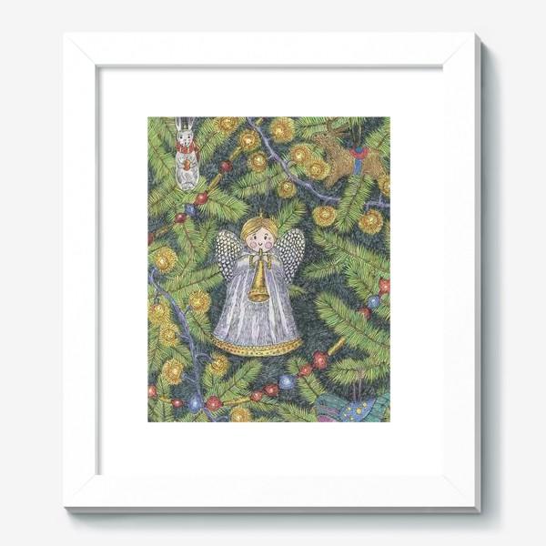Картина «Винтажные елочные игрушки на елке»