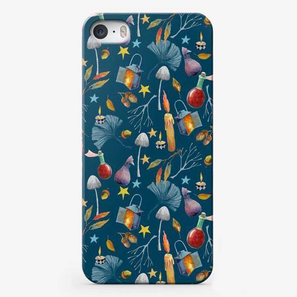 Чехол iPhone «Свечи, грибы, фонари, ветки, желуди, осенние листья, звезды. Акварель. Волшебство.»