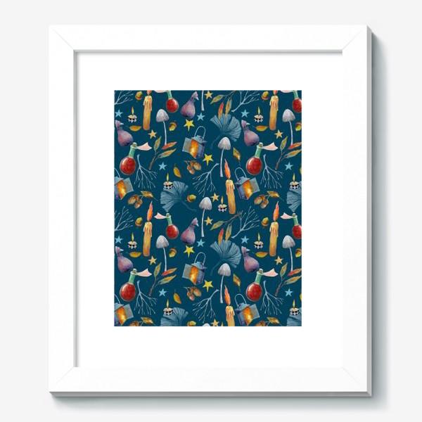 Картина «Свечи, грибы, фонари, ветки, желуди, осенние листья, звезды. Акварель. Волшебство.»