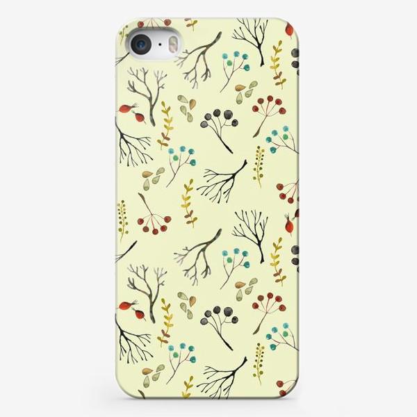 Чехол iPhone «Веточки, семена, шиповник. Акварель. Осень.»