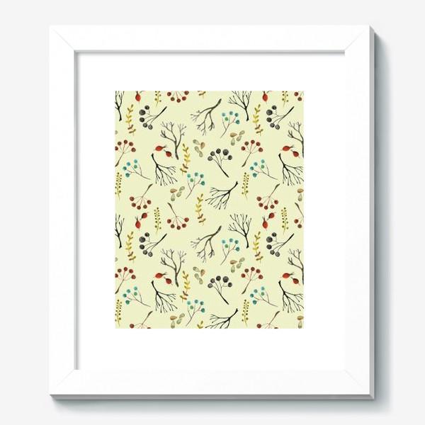 Картина «Веточки, семена, шиповник. Акварель. Осень.»