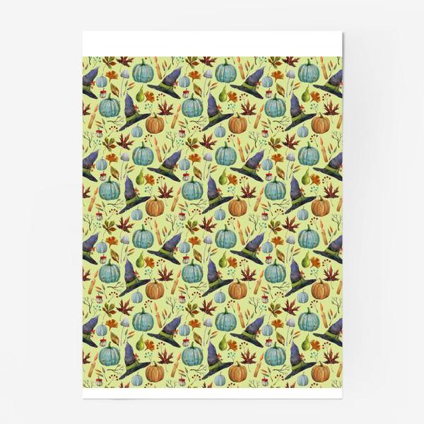 Постер «Шляпы, тыквы, свечи, листья. Осень. Волшебство.»
