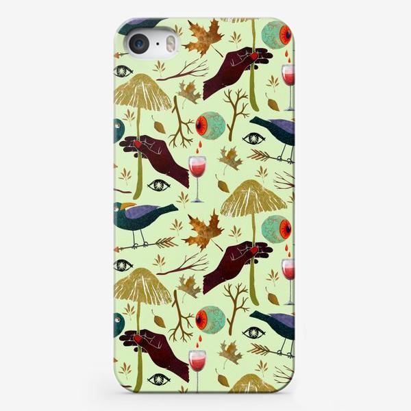 Чехол iPhone «Вороны, грибы, руки, ветки, кровавые глаза, бокалы, осенние листья. Хэллоуин.»