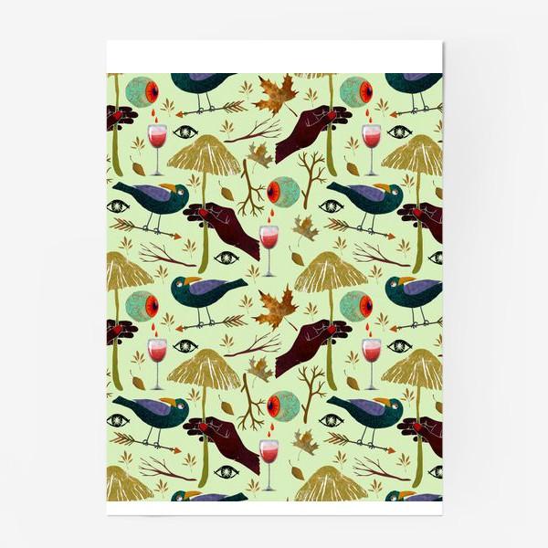 Постер «Вороны, грибы, руки, ветки, кровавые глаза, бокалы, осенние листья. Хэллоуин.»