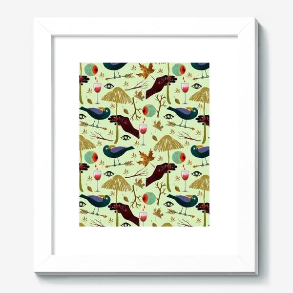 Картина «Вороны, грибы, руки, ветки, кровавые глаза, бокалы, осенние листья. Хэллоуин.»